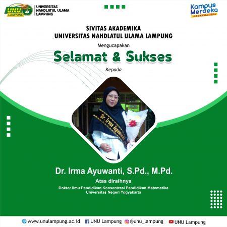Irma Ayuwanti menambah daftar dosen bergelar Doktor di UNU Lampung