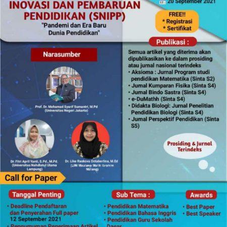 Seminar Nasional Inovasi dan Pembaharuan Pendidikan (SNPP) 2021